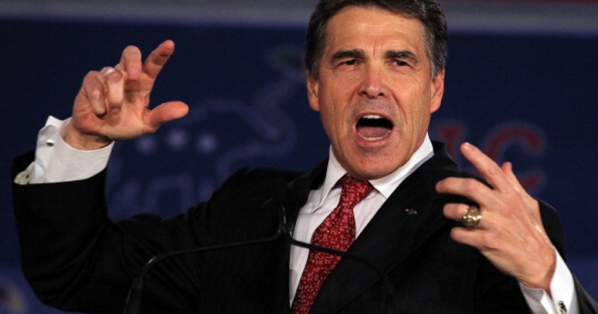 Texas governor Rick Perry speaks during the 2011 Republican Leadership Conference on June 18, 2011 in New Orleans.</p>
