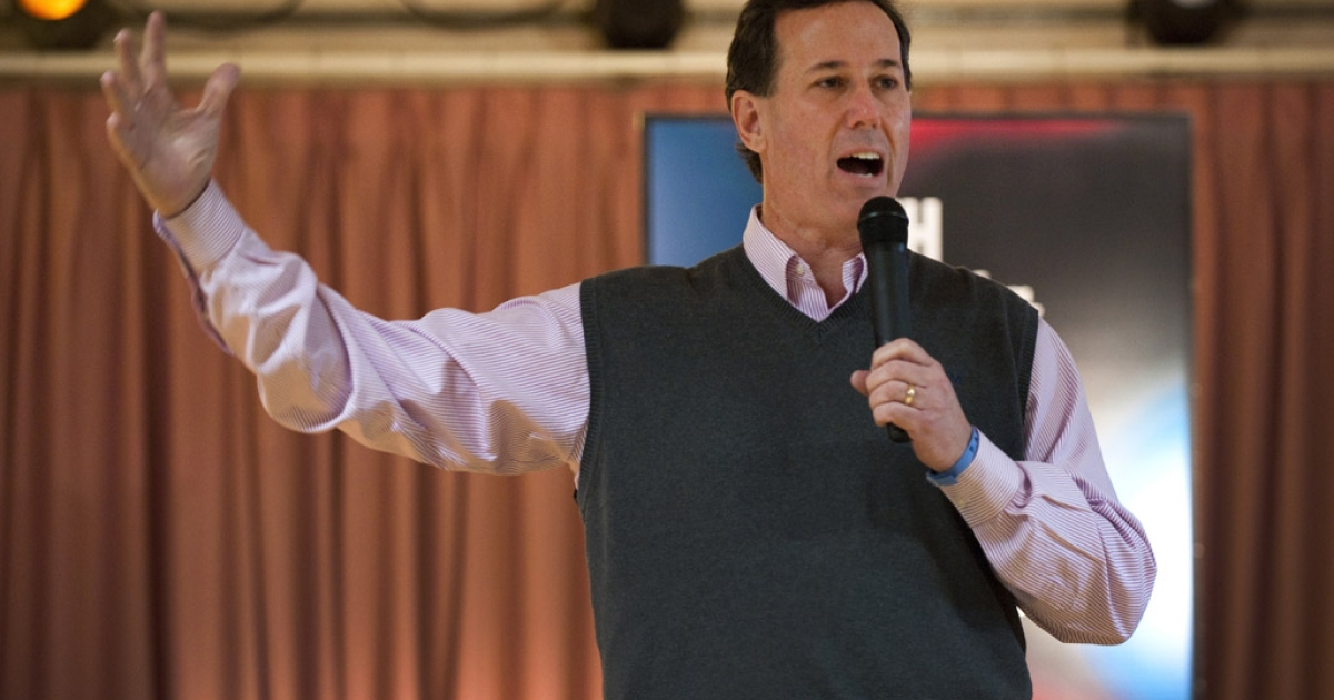 Republican presidential candidate Rick Santorum addresses a town hall meeting in Salem, New Hampshire.</p>