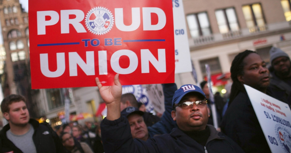Members of area labor unions and Occupy Wall Street demonstrators participate in a