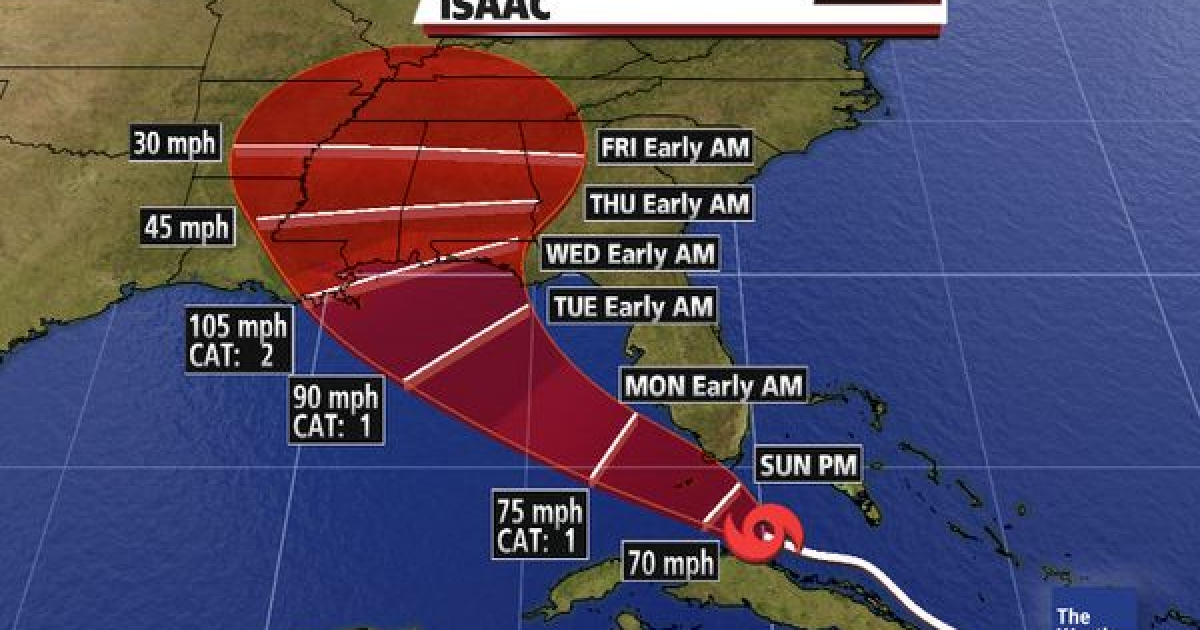 Tropical Storm Isaac is headed toward the Florida Keys Saturday, but is gathering strength for a potential landfall in the northern Gulf Coast later this week.</p>