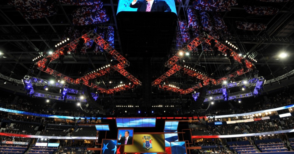 New Jersey Governor Chris Christie speaks at the Tampa Bay Times Forum in Tampa, Florida, on August 28, 2012 during the Republican National Convention.</p>