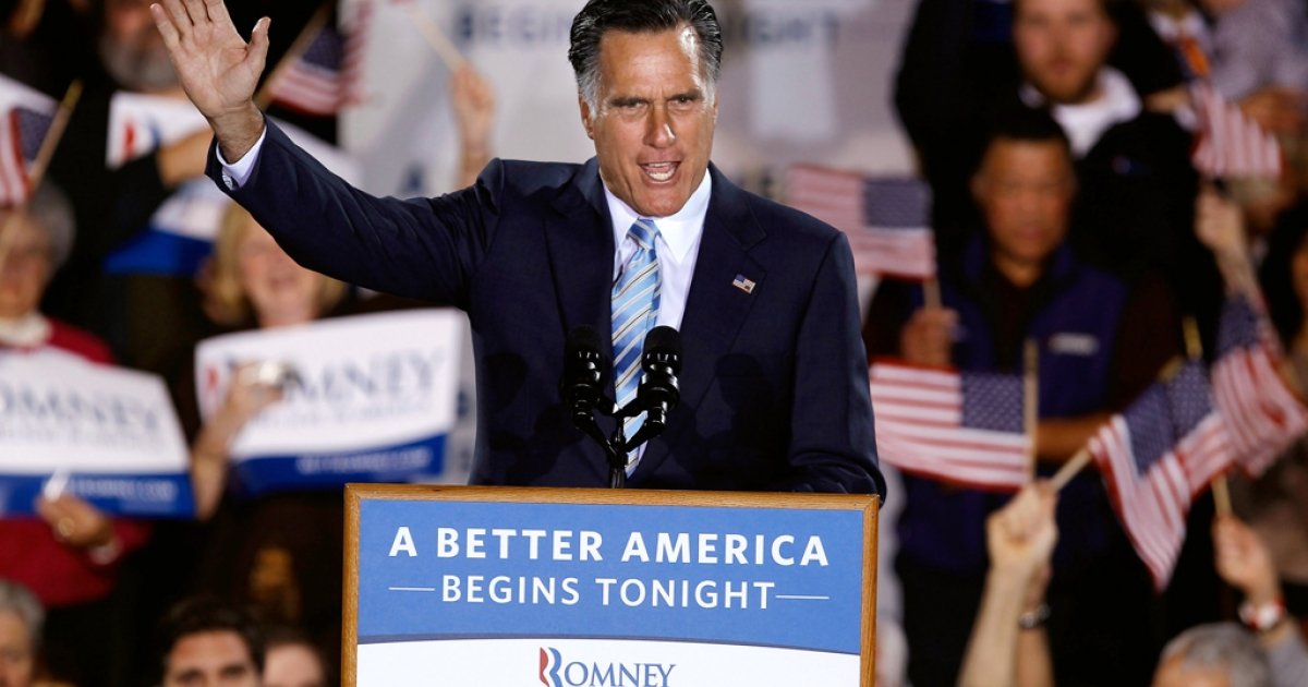Republican presidential candidate, former Massachusetts Gov. Mitt Romney addresses supporters during a campaign rally titled