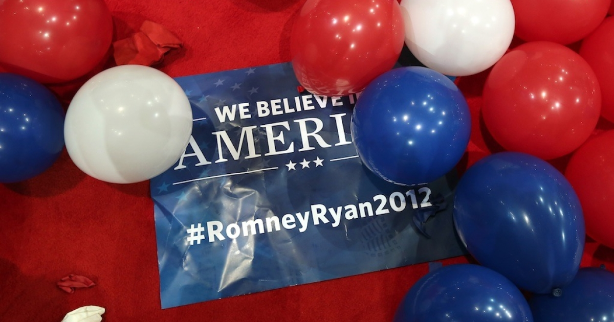 A sign sits on the floor after Republican presidential candidate, former Massachusetts Gov. Mitt Romney, accepted the nomination during the final day of the Republican National Convention at the Tampa Bay Times Forum on August 30, 2012 in Tampa, Florida.</p>