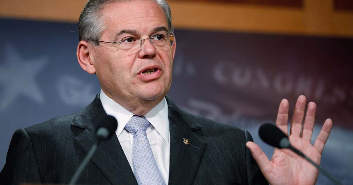 US Sen. Robert Menendez (D-NJ) speaks about the announcement that the Democratic leadership will not bring energy reform legislation to the floor for a vote before the summer recess at the U.S. Capitol on Aug. 3, 2010 in Washington, DC.</p>