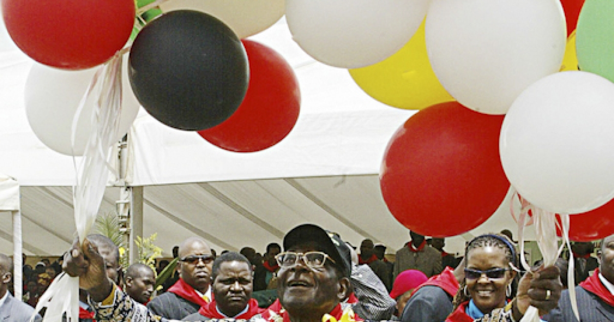 Mugabe's annual birthday tradition of releasing the balloons. And yes, the printed shirt Mugabe is wearing does appear to bear his own image.</p>