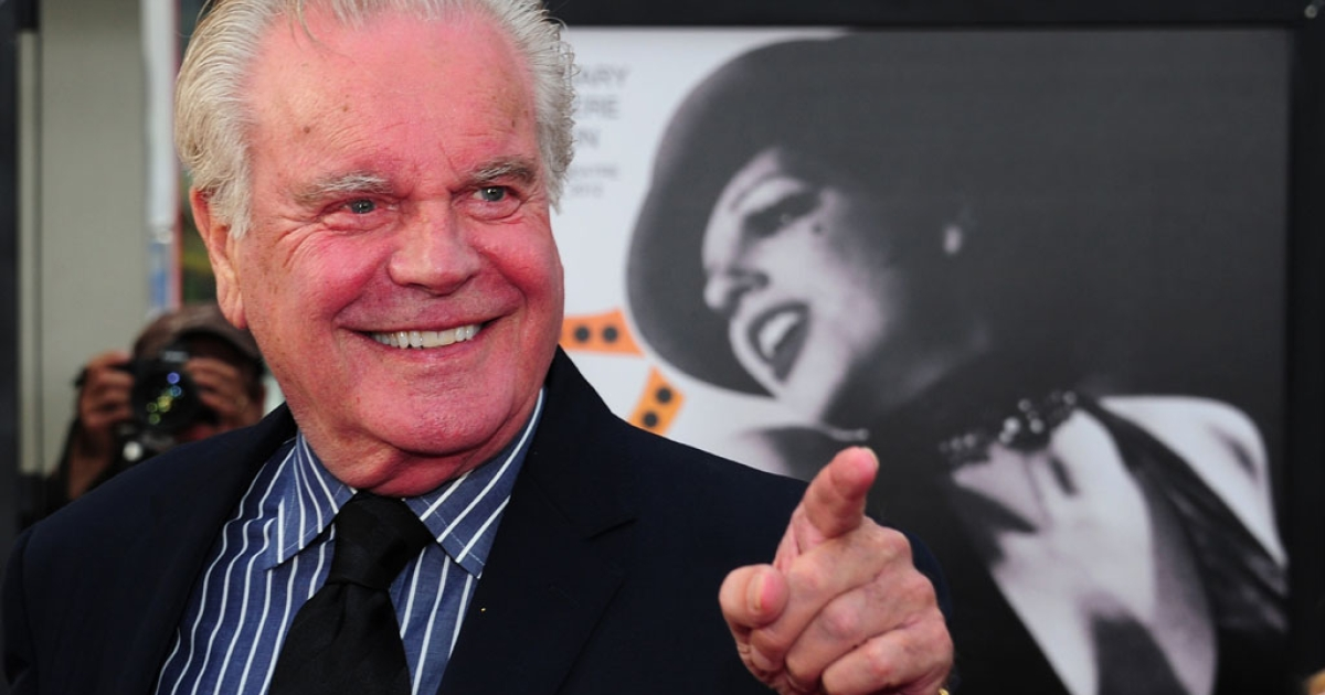 Actor Robert Wagner gestures while posing on arrival for the World Premiere of the 40th Anniversary Restoration of Cabaret at Grauman's Chinese Theater in Hollywood on April 12, 2012.</p>