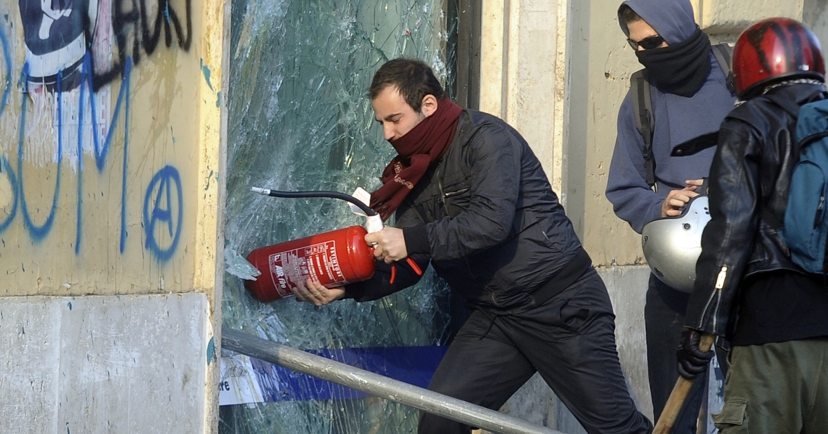 Protests in Rome turned violent on Saturday.</p>