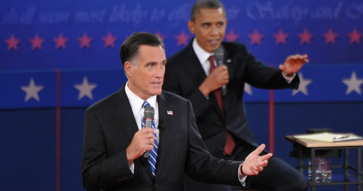 Republican presidential candidate Mitt Romney speaks during the second presidential debate with US President Barack Obama October 16, 2012 at the David Mack Center at Hofstra University. If the candidates were allowed to question each other rather than field questions from the moderator or audience, they might produce a more revealing and enlivened debate.</p>