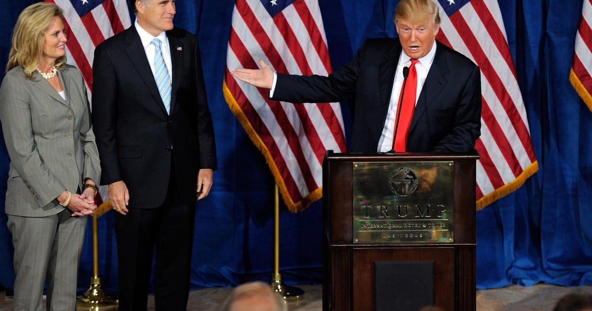 """Speaking at a packed news conference yesterday in his Las Vegas hotel, and flanked by Romney and his wife, Ann, Trump (R) said: """"Mitt is tough, he's sharp, he's smart.  He's not going to allow bad things to continue to happen to this country that we all love.""""</p>"""