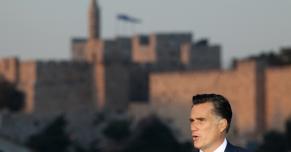 U.S. Republican presidential candidate, Mitt Romney, delivers a speech outside the Old City in Jerusalem, Israel on July 29, 2012. He is in Israel as part of a three-nation foreign diplomatic tour which also includes visits to Poland and Great Britain.</p>