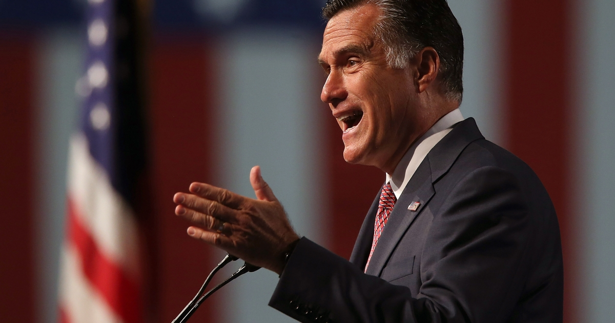 Mitt Romney spoke to veterans before kicking off a six-day foreign trip to England, Israel and Poland.</p>