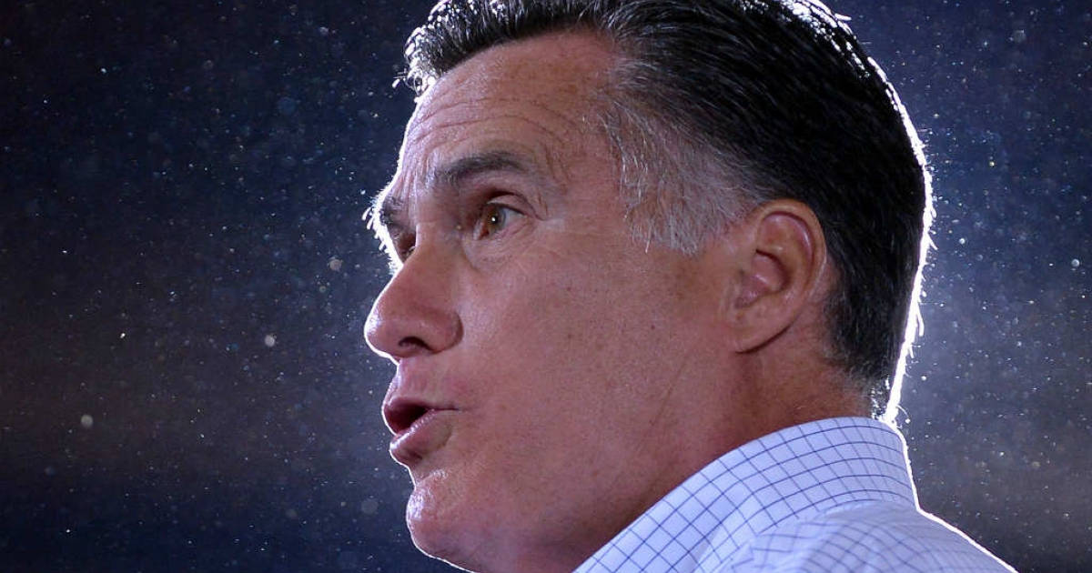 Mitt Romney speaks during a campaign event at LeClaire Manufacturing in Iowa.</p>
