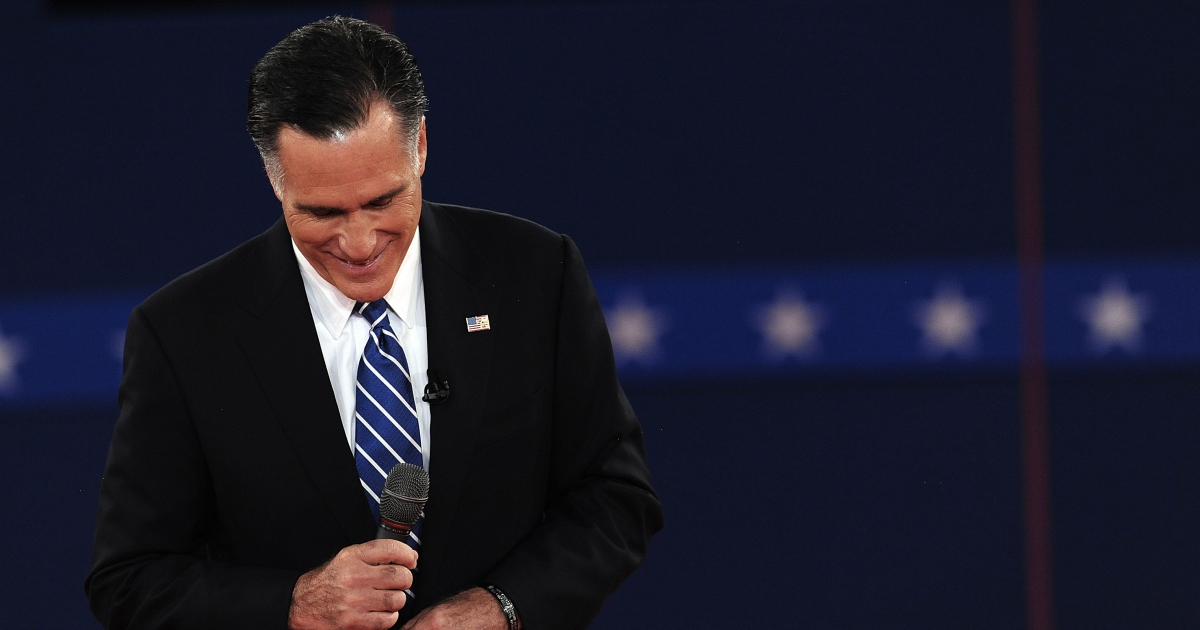 Republican presidential nominee Mitt Romney listens during the second of three presidential debates Oct. 16, 2012, at Hofstra University in Hempstead, New York.</p>