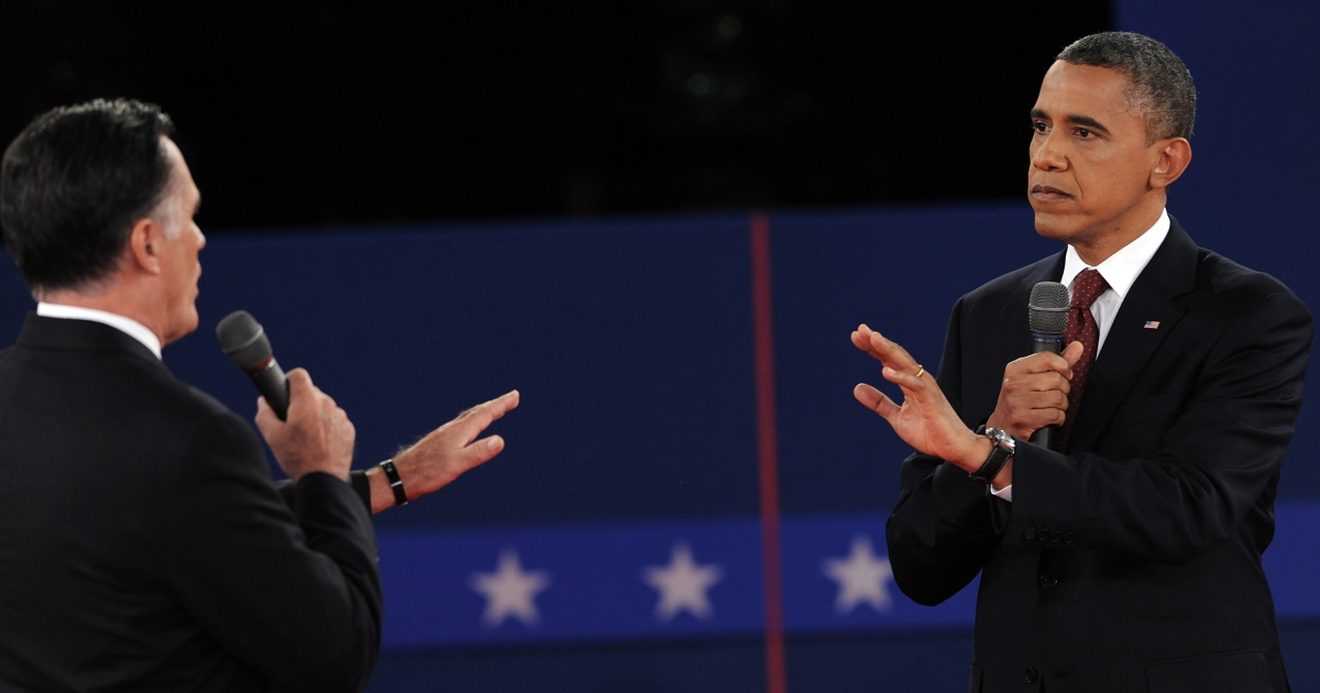 Republican presidential nominee Mitt Romney and President Barack Obama get aggressive on Oct. 16 during the second presidential debates at Hofstra University in Hempstead, New York.</p>