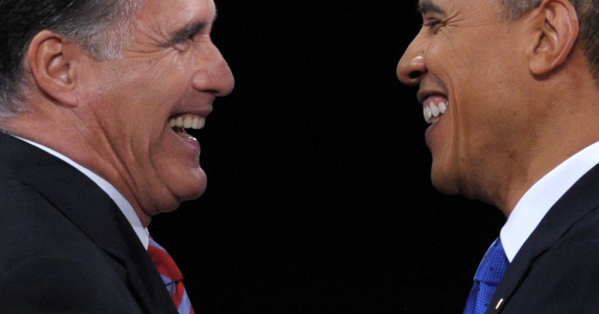 President Barack Obama and Governor Mitt Romney greet each other at the third and final presidential debate at Lynn University in Boca Raton, FL.</p>