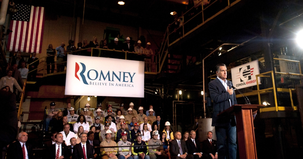 Republican presidential candidate, former Massachusetts Gov. Mitt Romney speaks to supporters at a Consol Energy Research and Development Campus on April 23, 2012 in South Park, Pennsylvania. Romney continues his campaign as the presumptive GOP candidate two days before the Pennsylvania primary.</p>