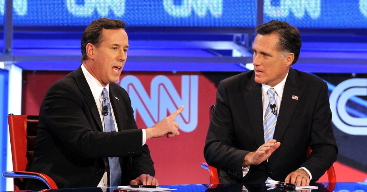 Republican presidential candidates Rick Santorum (L) and Mitt Romney participate in a debate in Mesa, Arizona. They are currently neck-and-neck in the polls, as of March 2, 2012, heading in to voting on Super Tuesday, including the important swing state primary in Ohio.</p>