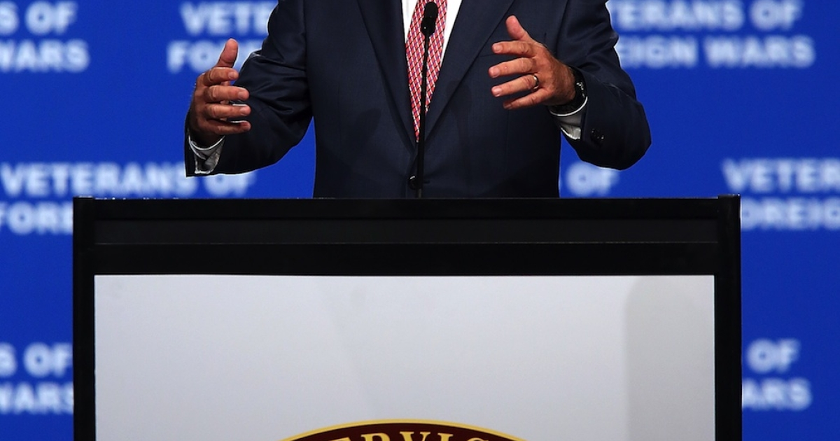 Republican presidential candidate and former Massachusetts Gov. Mitt Romney speaks during the 113th National Convention of the Veterans of Foreign Wars of the US at the Reno-Sparks Convention Center on July 24, 2012. Romney spoke to veterans before he leaves for London to kick off a six-day foreign trip to England, Israel and Poland.</p>