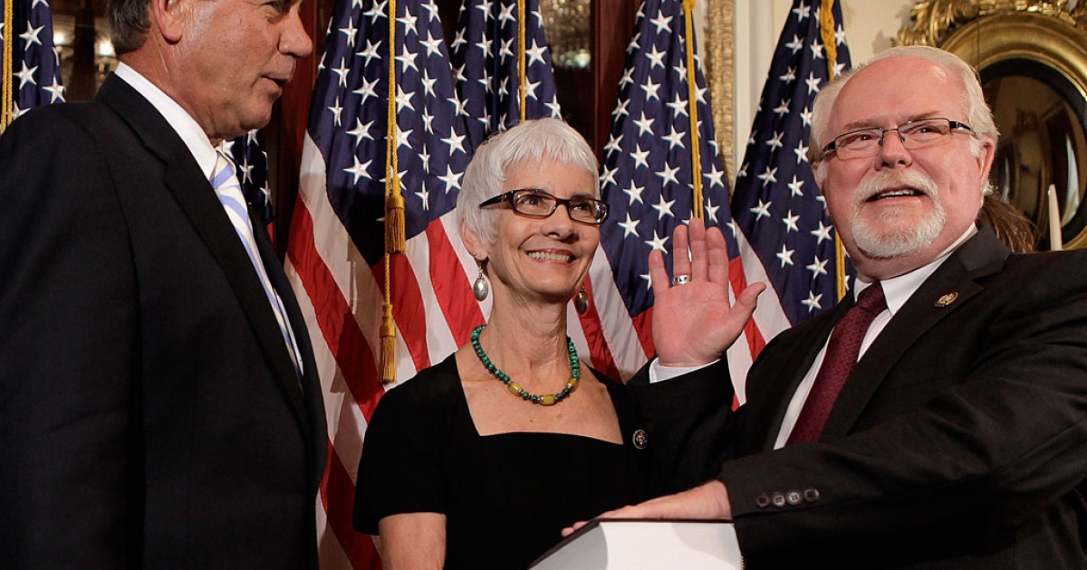 Speaker of the House John Boehner (R-Ohio) conducts a ceremonial swearing-in of U.S. Rep. Ron Barber (D-Ariz.) as his wife Nancy Barber looks on at the U.S. Capitol on June 19, 2012 in Washington, DC. Barber won a special election in Arizona to replace U.S. Rep. Gabby Giffords.</p>