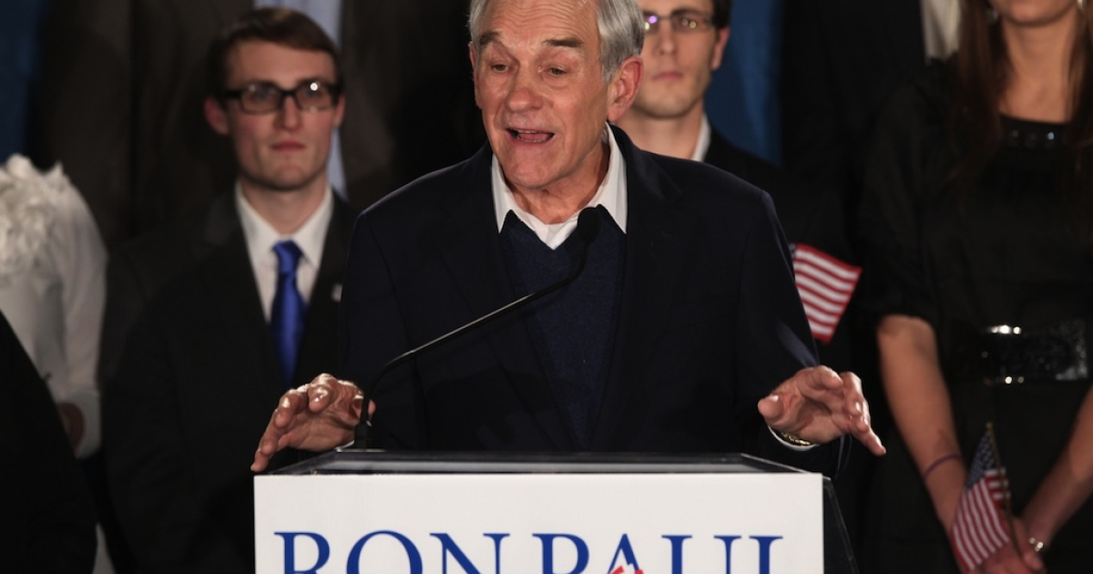 Republican presidential candidate, US Rep. Ron Paul (R-TX), speaks to supporters on Jan. 10, 2012 in Manchester, New Hampshire.</p>