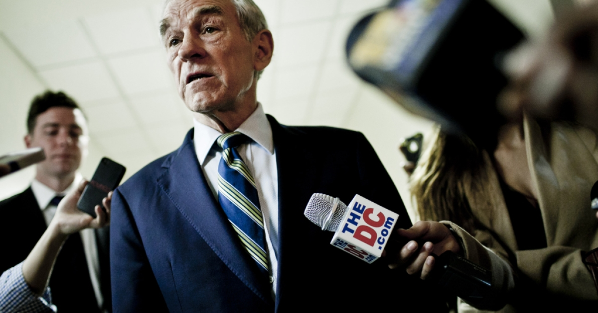 Republican Presidential hopeful US Rep. Ron Paul (R-TX) talks with the press after a town hall meeting at the University of Maryland on March 28, 2012 in College Park, Maryland. Paul has made strategic gains in Maine and Nevada that could help him control party policies at the upcoming Republican National Convention.</p>