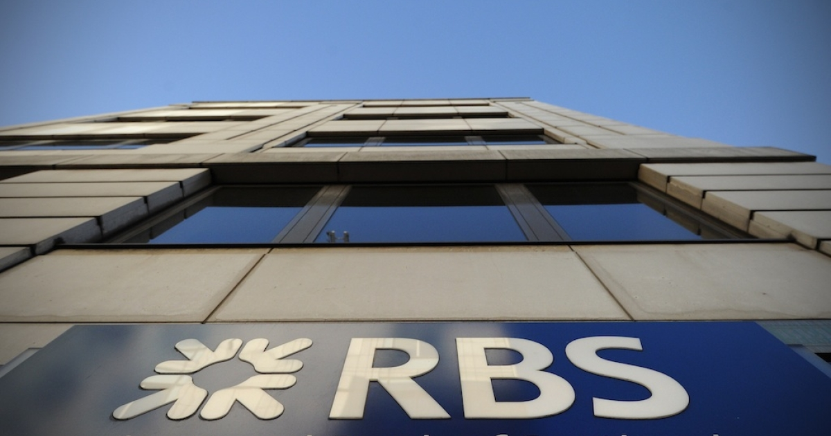 This picture shows the Royal Bank of Scotland sign outside a branch in central London.</p>