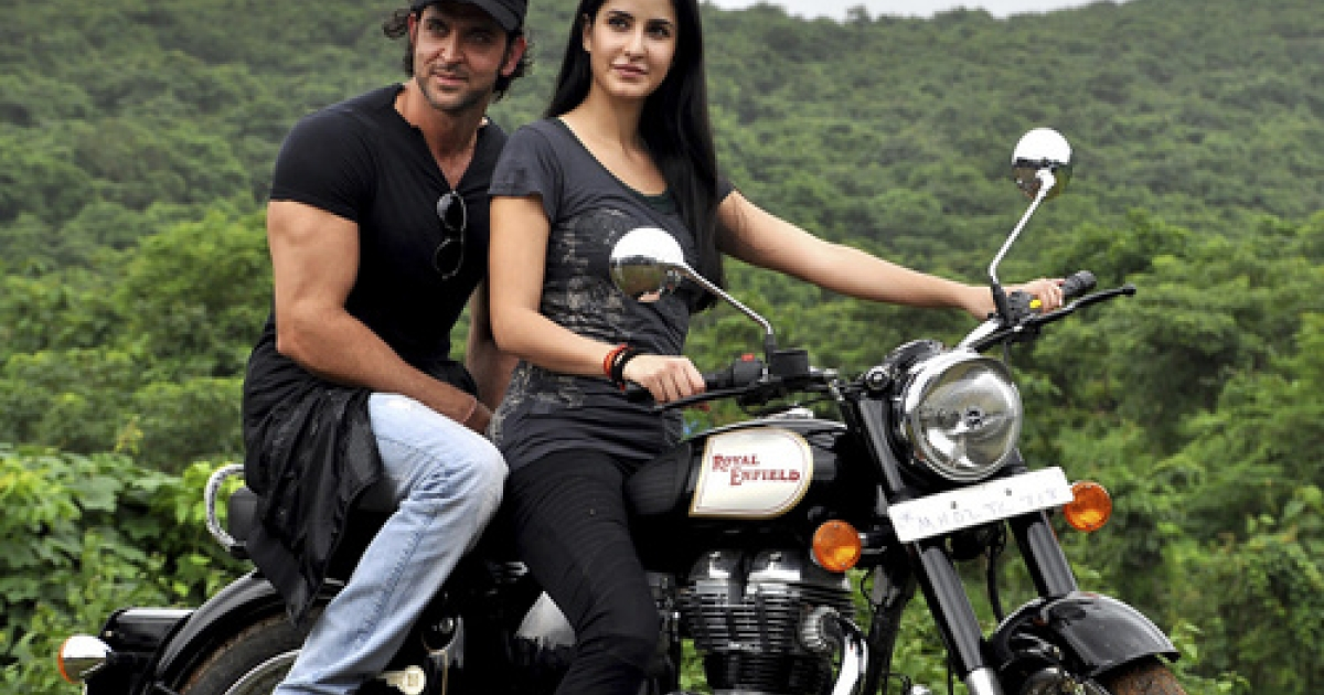 Shown here with Bollywood stars Hrithik Roshan and Katrina Kaif, the Royal Enfield Bullet notched up 44 percent sales growth last year, thanks to a new engine and a new CEO.</p>