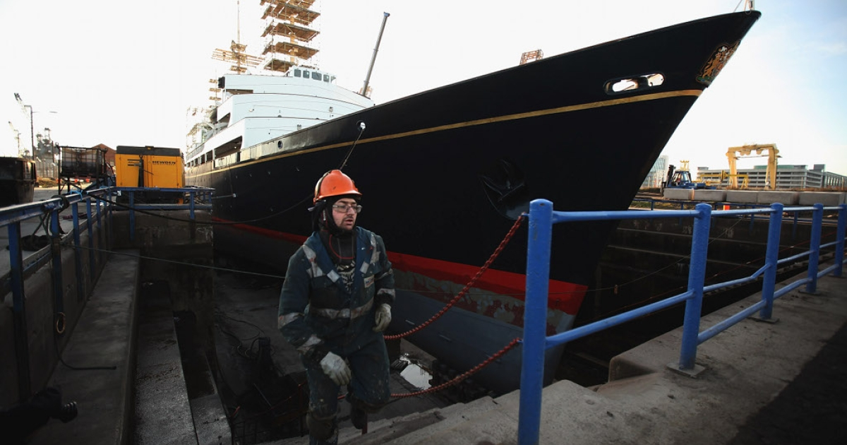 Queen Elizabeth's old yacht, Britannia, in dry dock last week.  The ship, which left Royal service in 1997, is now a tourist attraction in Scotland.  The Queen's supporters want her to have a new one.</p>