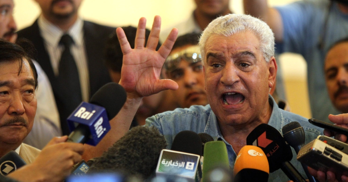 Former Egyptian Minister of Antiquities Zahi Hawass speaks to the press during an event announcing the first step in unearthing the second 'Sun Ship' for King Khufu, who was the second pharaoh of the Fourth Dynasty of the old kingdom of ancient Egypt near the Great Pyramids on the outskirts of Cairo on June 23, 2011.</p>