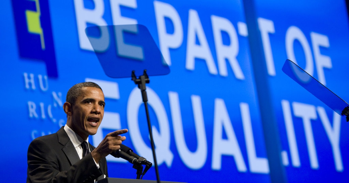 U.S. President Barack Obama delivers remarks during the Human Rights Campaign's 15th Annual National Dinner at the Washington Convention Center on October 1, 2011 in Washington, D.C. The President spoke to one of the leading gay rights groups two weeks after the repeal of the military's