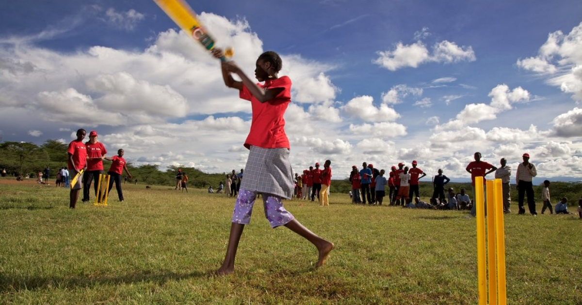 Young girls play cricket on November 25, 2011 in Laikipia, Kenya. Members of the Maasai Cricket Warriors team helped support the International Cricket Council's Think Wise awareness campaign, ahead of World Aids Day, by delivering HIV prevention messages to children.</p>