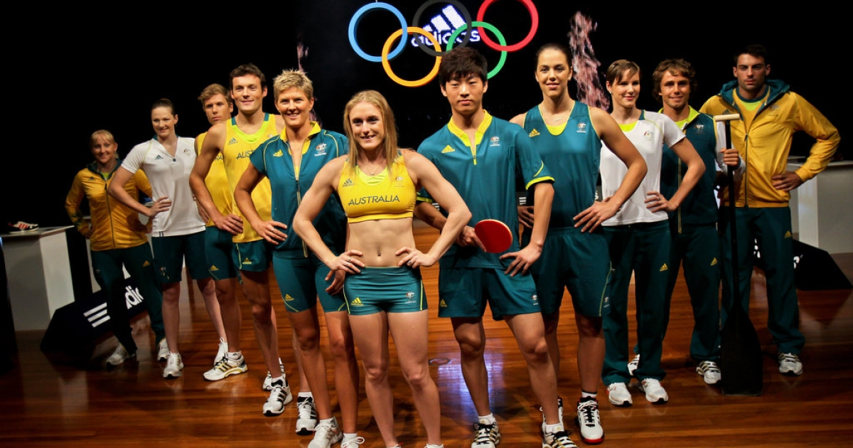 Australian Olympic athletes pose during the unveiling of the Australian Olympic team uniforms at Sydney Olympic Park on March 28, 2012. The London Olympics take place from July 27 to August 12.</p>