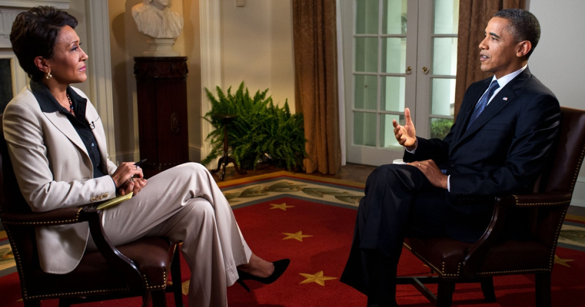 President Barack Obama participates in an interview with Robin Roberts of ABC's Good Morning America, in the Cabinet Room of the White House on May 9, 2012 in Washington, DC. During the interview, President Obama expressed his support for gay marriage, a first for a US president.</p>