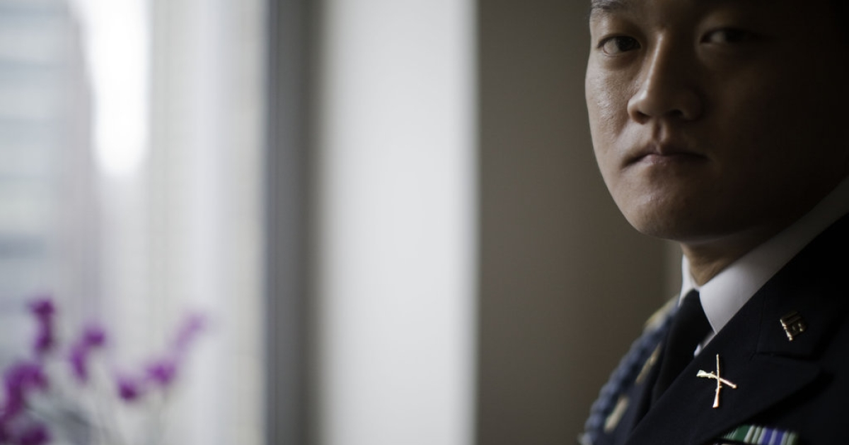 Former Army Lt. Dan Choi in his Manhattan apartment. He currently faces federal charges for his role in a White House protest in Nov. 2010 and has refused to repay nearly $3000 in bonus money that the New York Army National Guard wants back due to his failure to complete his enlistment after being discharged under