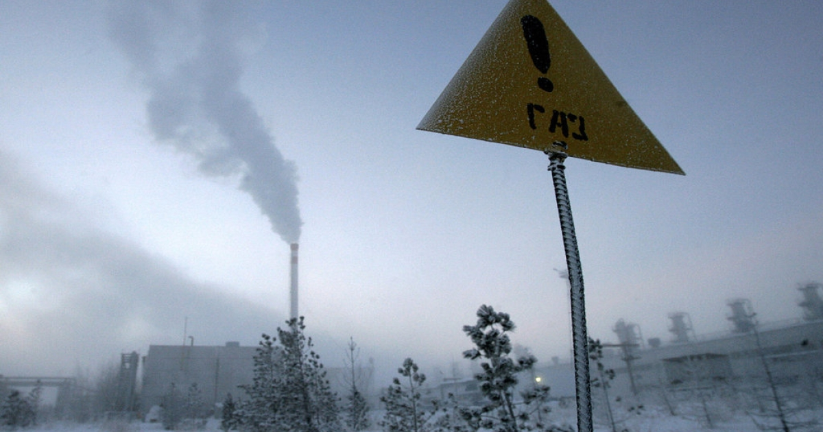 A sign reading, 'Gas!' in -40 degree Celcius temperatures in Novy Urengoi, just below the Arctic Circle in far northern Russia. Russian energy giant Gazprom opened its nearby Yuzhno-Russkoye gas field on December 18, 2007, which the company estimated to hold around one trillion cubic meters of natural gas.</p>