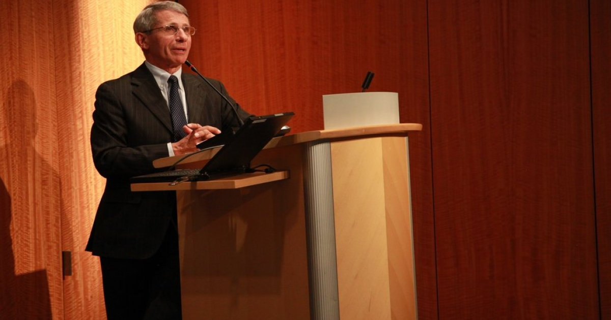 Dr. Anthony Fauci, director of the National Institute of Allergy and Infectious Diseases, speaks at an event in Washington at the Kaiser Family Foundation on Monday, Mar. 19.</p>
