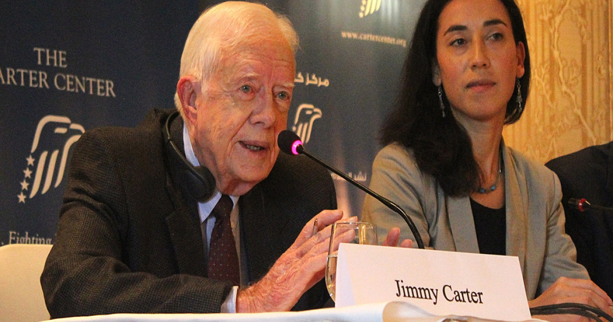 Former US President Jimmy Carter speaks about Egypt's recent parliamentary elections in Cairo on Jan. 13, 2012.</p>