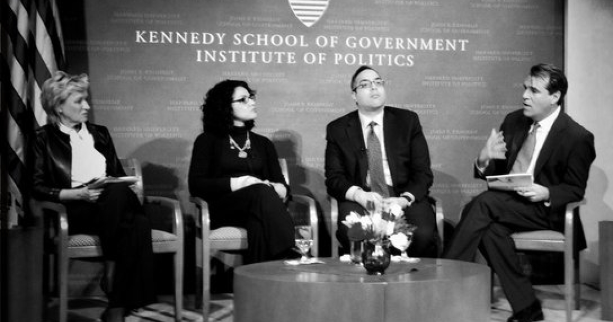 "The Daily Beast / Newsweek editor-in-chief Tina Brown moderates a panel titled ""Egypt: From Tahrir Square to Today"" at Harvard's Kennedy School of Government on Feb. 2, joined on stage (L to R) by Egyptian-American journalist and activist Mona Eltahawy, Harvard professor Tarek Masoud and GlobalPost executive editor and co-founder Charles Sennott.</p>"