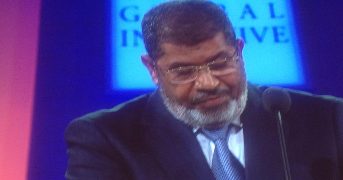 Egyptian President Mohammed Morsi speaks at the Clinton Global Initiative in New York City on September 25, 2012.</p>