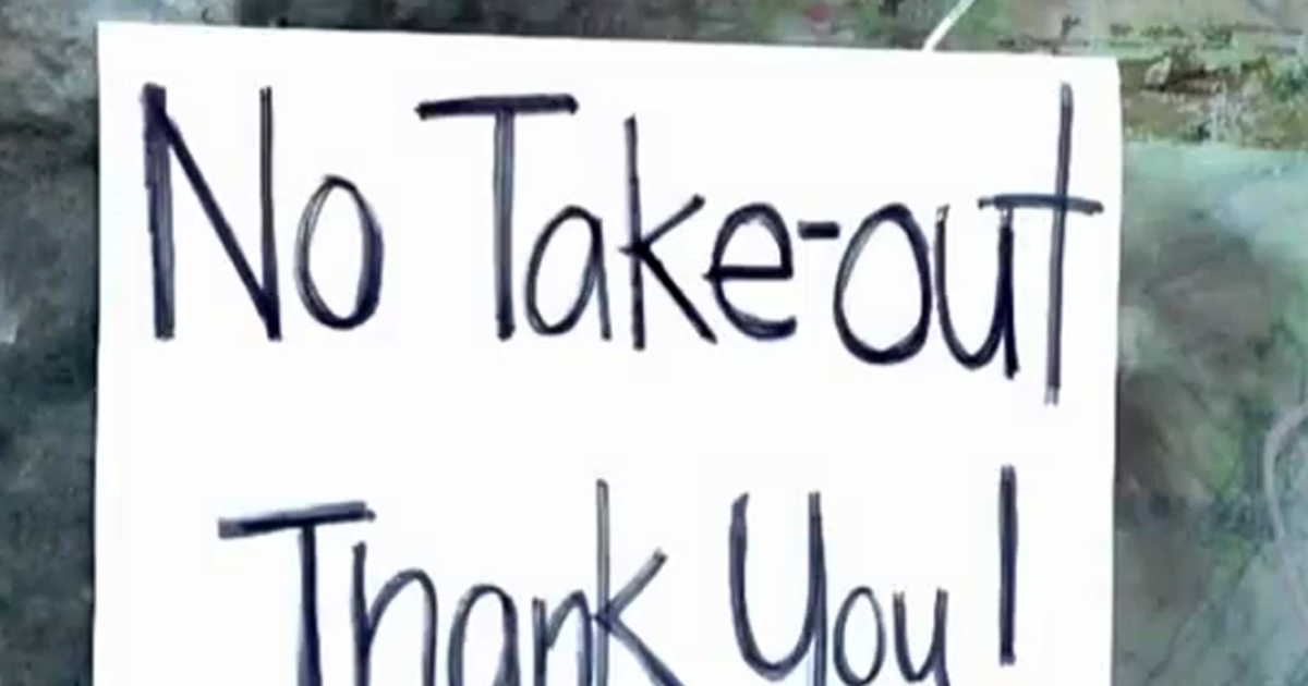 A still image taken from Associated Press video shows a sign at the Sam Wo restaurant bluntly telling customers they may eat in only.</p>