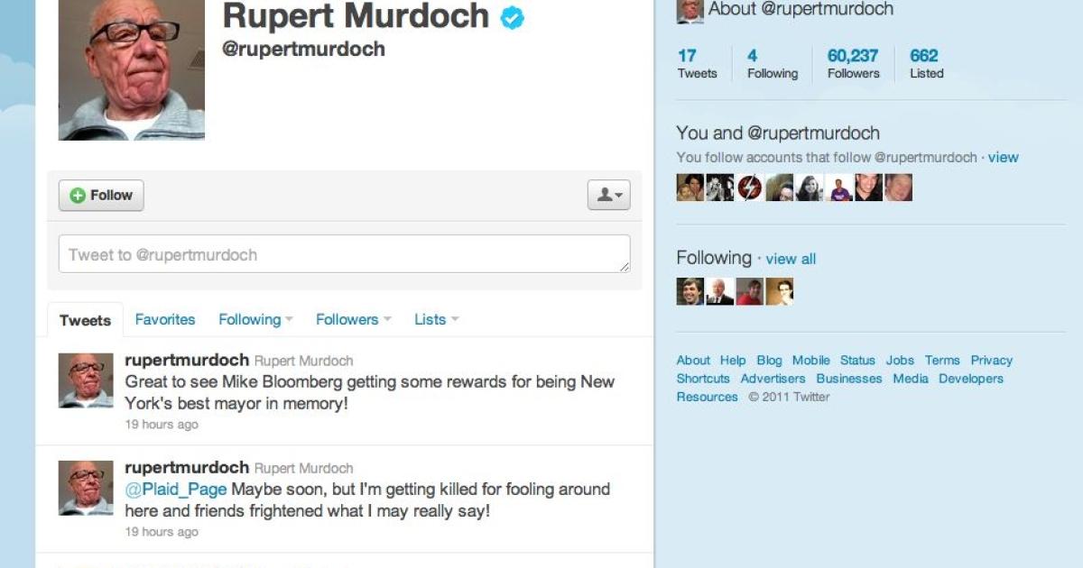 Rupert Murdoch's Twitter page.</p>
