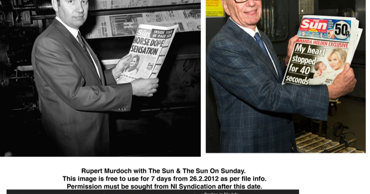 Rupert Murdoch: then and now. Holding the first edition of The Sun published after he bought it in 1969 and holding the first edition of The Sun on Sunday published yesterday.  The positive buzz about the 80 year old's indefatigability was undone today by new revelations of alleged illegal payments made by Sun journalists to public officials.</p>