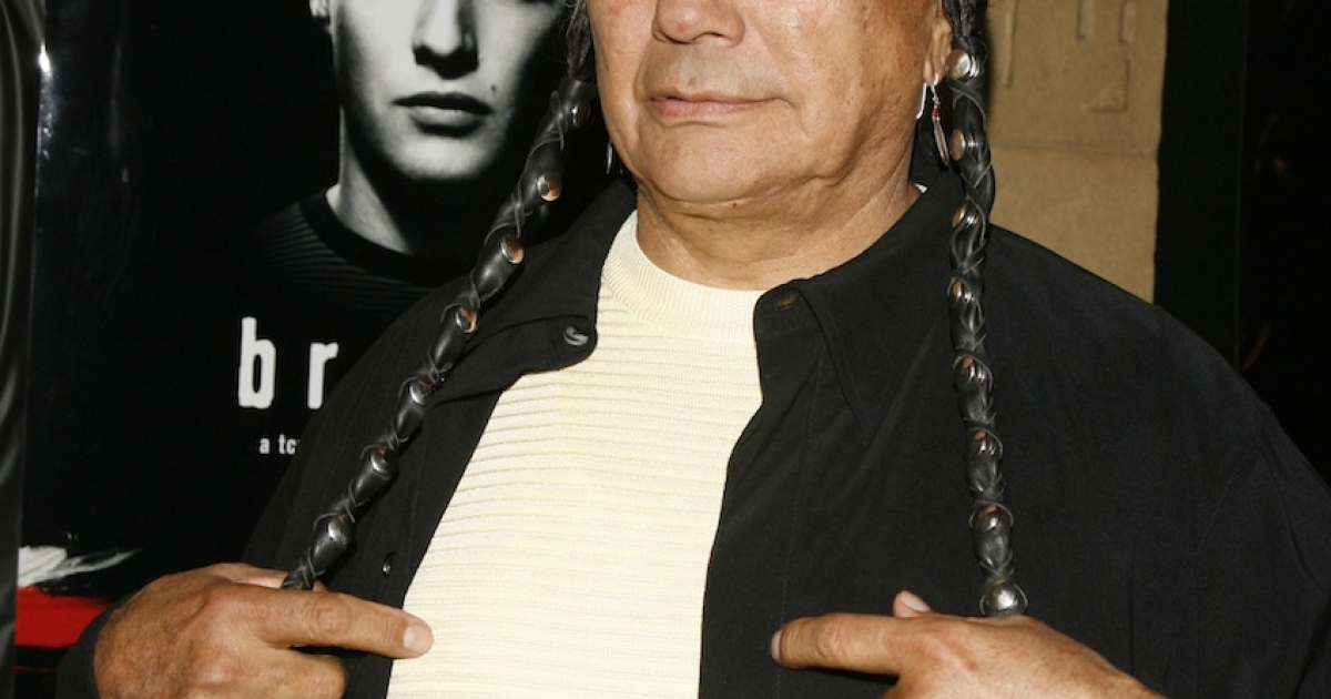 Russell Means arrives at the premiere screening of Turner Classic Movies 'Brando' at the Egyptian Theater on April 17, 2007 in Los Angeles, California.</p>