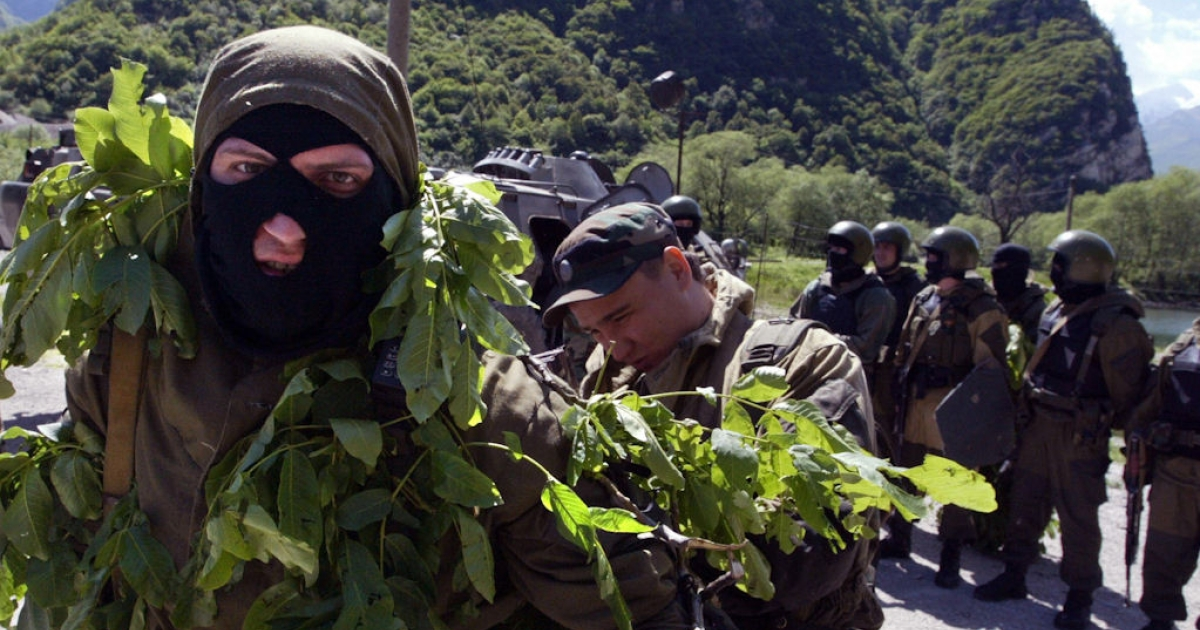 Russian Interior Ministry movable commandoes hold military exercises in the restive southern Russian region of Ingushetia on May 22, 2008. Ingushetia, which neighbors Chechnya, frequently sees clashes between Islamic insurgents and Russian security forces.</p>