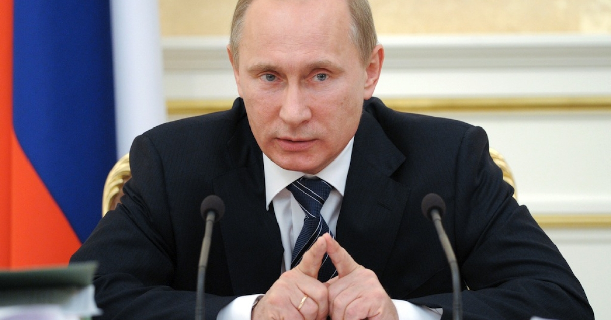 Russia's Prime Minister Vladimir Putin speaks during a Government Presidium meeting in Moscow on January 12, 2012.</p>
