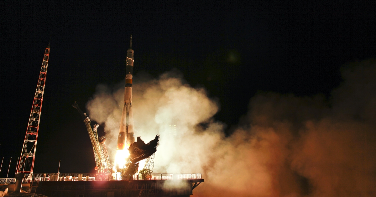 The Soyuz TMA-02M spacecraft launches from the Baikonur Cosmodrome in Kazakhstan early Wednesday, June 8, 2011 carrying Expedition 28 Soyuz Commander Sergei Volkov of Russia, NASA Flight Engineer Mike Fossum and JAXA (Japan Aerospace Exploration Agency) Flight Engineer Satoshi Furukawa to the International Space Station.</p>