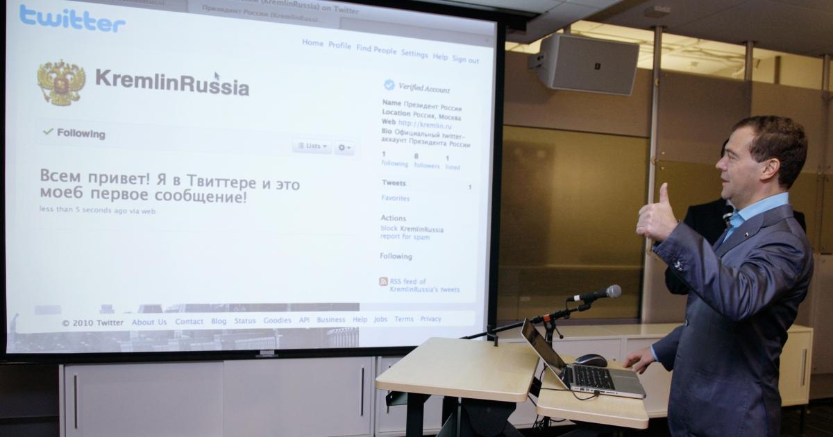 Medvedev sending his first (curse-free) tweet.</p>