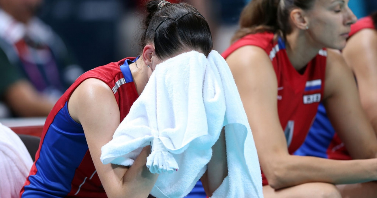 Evgeniya Startseva #13 of Russia reacts after the loss to Brazil during Women's Volleyball quarterfinals on Day 11 of the London 2012 Olympic Games at Earls Court on August 7, 2012 in London, England.</p>