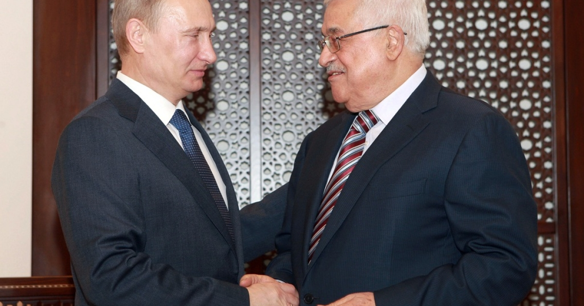 The President of the Palestinian Authority Mahmoud Abbas with Russia's President Vladimir Putin at the Presidential Palace in Bethlehem, where Putin was told the West Bank town had named a street after him.  Putin's reaction: