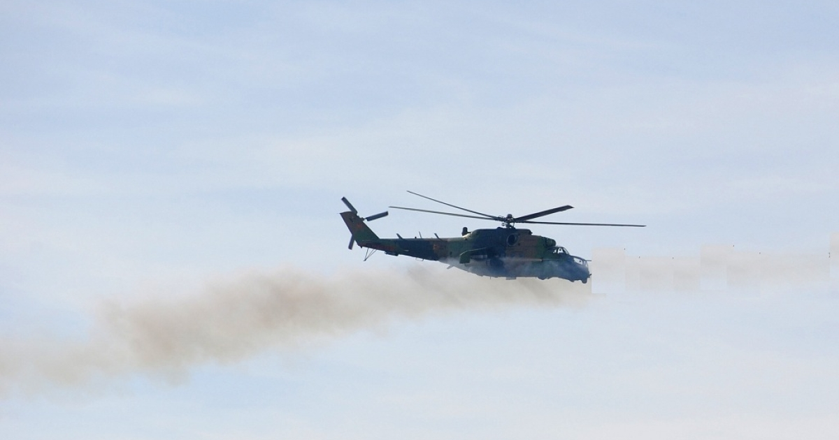 An Mi-24 helicopter much like the one that was hijacked in Russia to help convicted murderer Alexei Shestakov escape from a high security prison.</p>